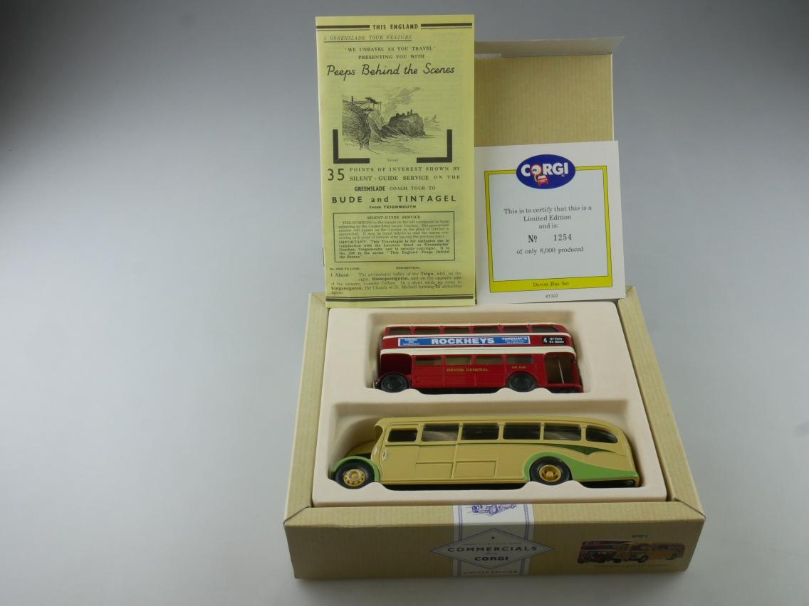 "Corgi 97071 AEC Regal & Coach ""The Devon Bus Set"" red yellow 1/50 + Box 516115"