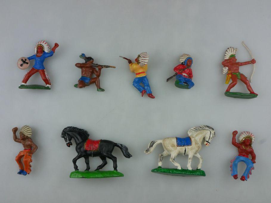 DDR Western Gummi Indianer Pferde Figuren Reiter 9x F. Fischer 116755