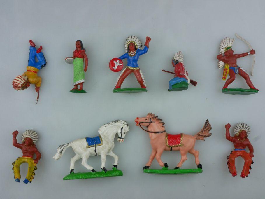 DDR Western Gummi Indianer Pferde Figuren Reiter 9x F. Fischer 116756