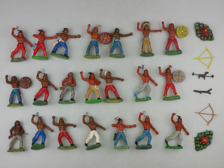 DDR Western Gummi Indianer Figuren Feuer 21x G. Blechschmidt 116757