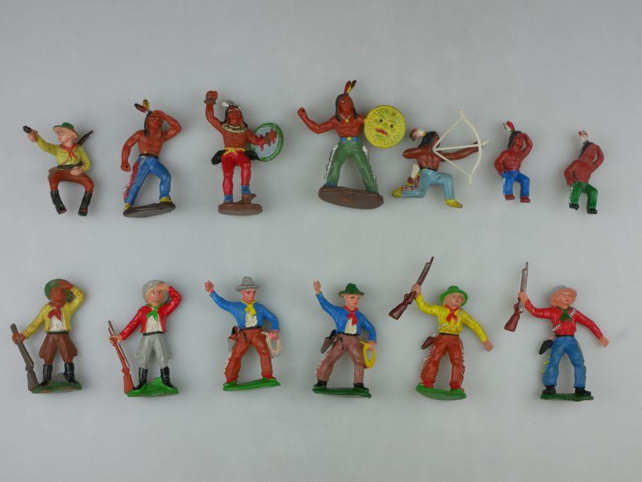 DDR Western Gummi Indianer Cowboys Figuren 13x E. Bayer 116760