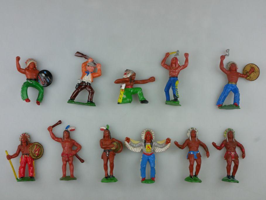 DDR Western Indianer Cowboys Gummi Figuren 11x R. Hopf 116765
