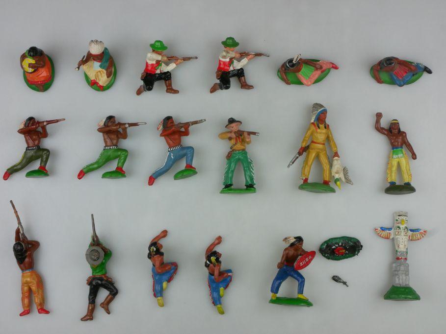 DDR Western Indianer Cowboys Gummi 17 Figuren Feuer Pfahl Lisanto 116770