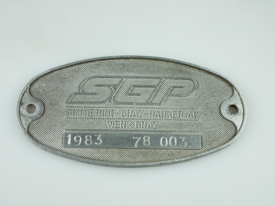 Simmering Graz Pauker AG Lok Wagon Typenschild 1983 ohne Box 512352