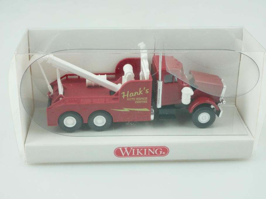 6310127 Wiking 1/87 Peterbilt Wreck Truck Abschleppwagen Hank's mit Box 512389