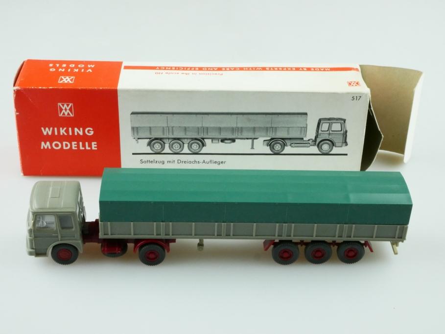 517 Wiking 1/87 MAN Sattelzug mit Dreiachsauflieger mit Box 512391