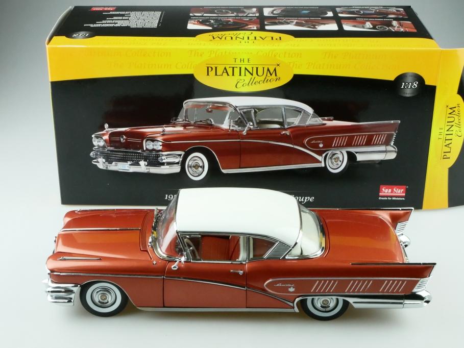 Sun Star 1/18 Buick Riviera Limited 2 Door Hardtop Coupe 1958 kupfermet.  512420