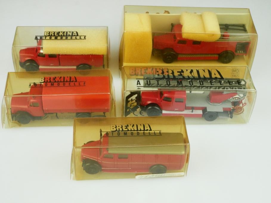 Brekina 1/87 Feuerwehr Konvolut  Mercedes Benz Magirus Deutz mit Box 512449