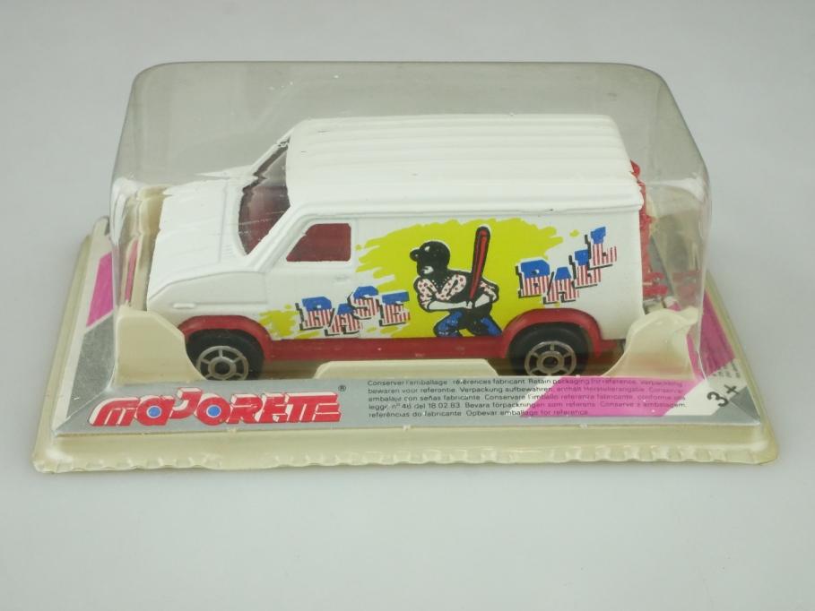 234 Majorette 1/65 Ford Fourgon Pub Van Aufdruck selten Baseball mit Box 512455