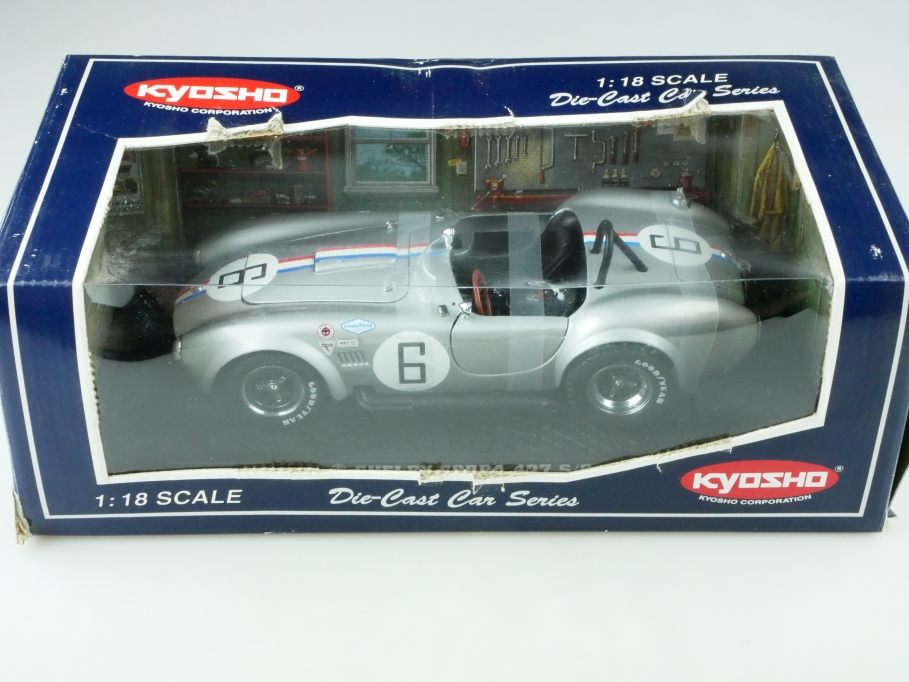 Kyosho 1/18 AC Cobra Shelby 427 Roadster Racing silver mit Box 512511