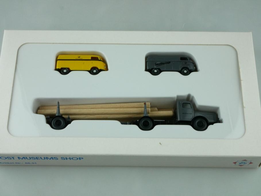 66-51 Wiking 1/87 Post Schnellbautrupp mit Büssing & VW T1 PMS Box 512555