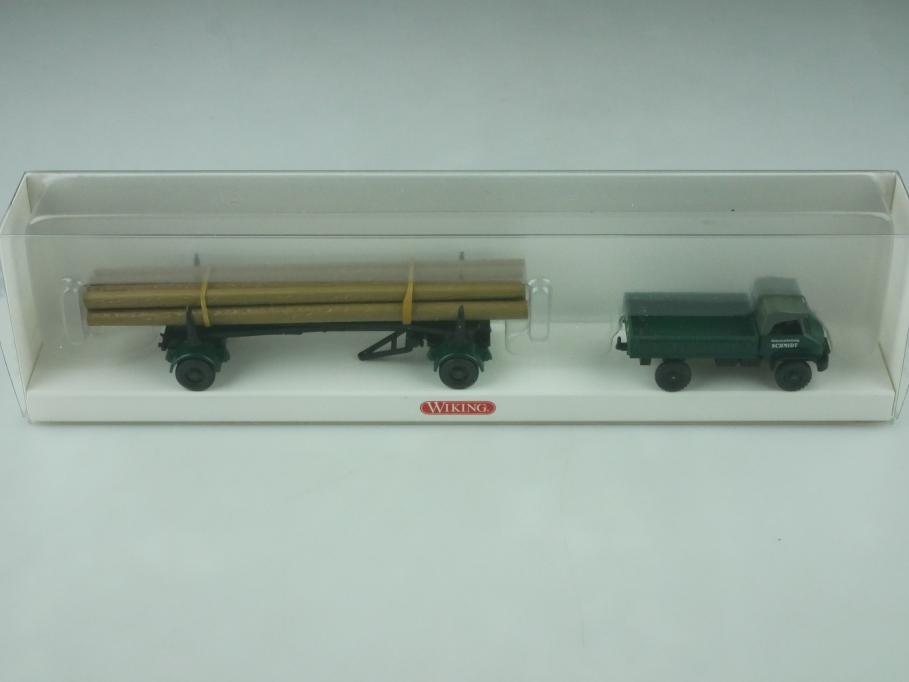 099595 Wiking 1/87 Unimog S mit Langholzanhänger Schmidt selten mit Box 512556