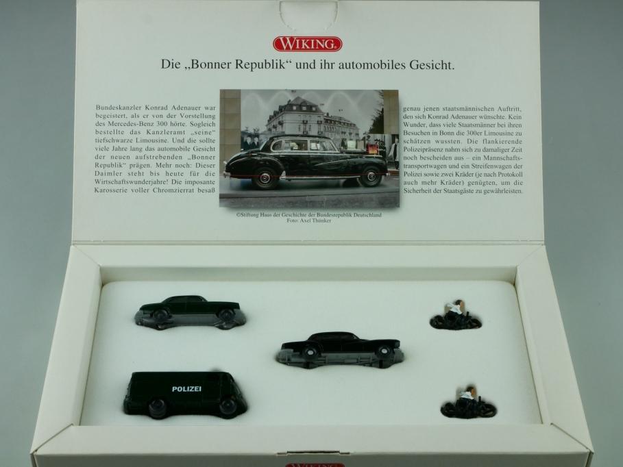 9905448 Wiking 1/87 Staatsbesuch in Bonn mit Mercedes Benz mit Box 512557