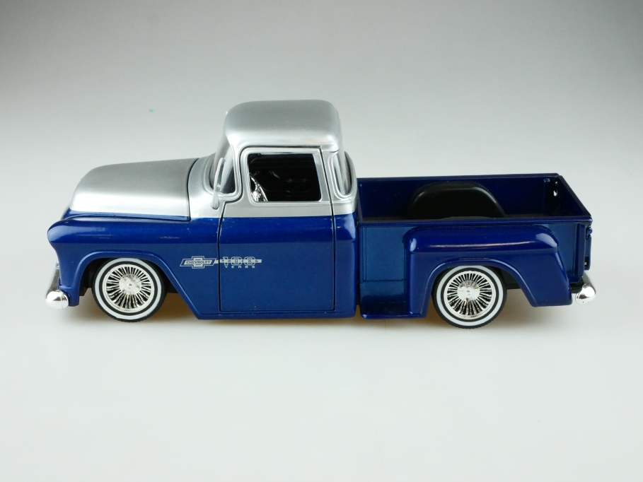Jada 1/24 Chevrolet 1955 Stepside Lowrider Pick Up silver Blue ohne Box 512575