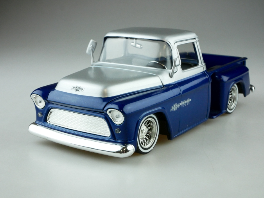 Jada 1/24 Chevrolet 1955 Stepside Lowrider Pick Up silver Blue ohne Box 512575