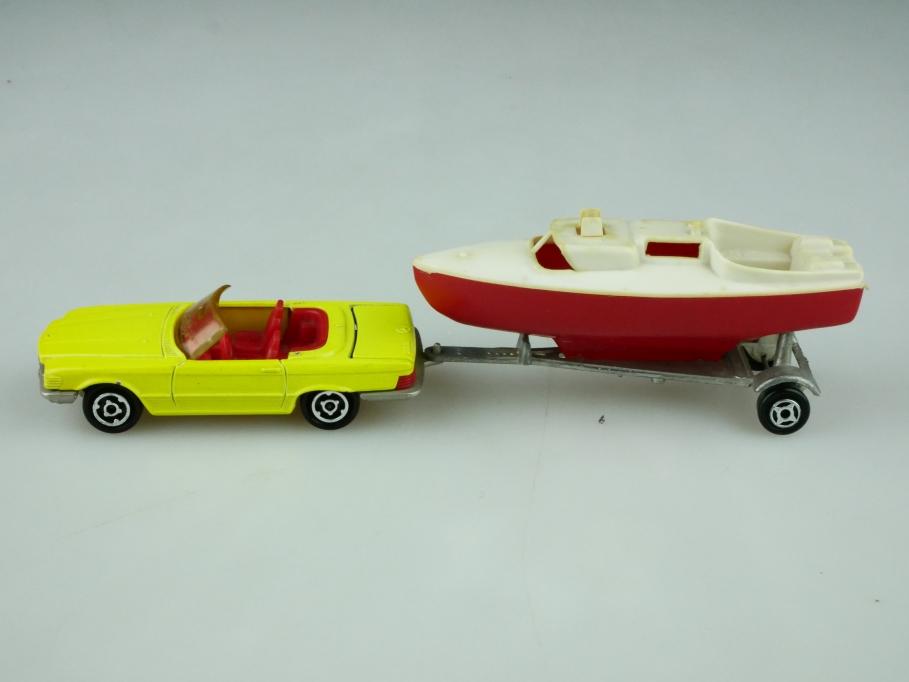 213 Majorette 1/60 Mercedes Benz 350 SL Roadster W 107 mit Boot ohne Box 512604
