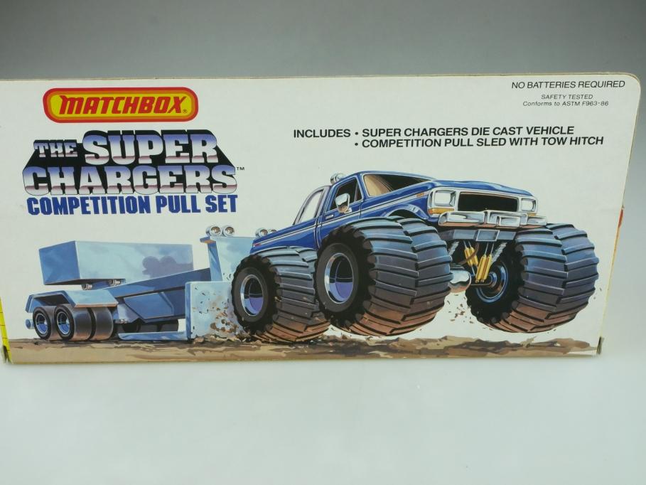 Matchbox ca. 1/64 Super Chargers Pull Set mit 57er Chevrolet Bel Air Box 512609