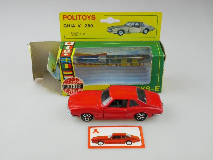 550 Politoys 1/43 Export Ghia V 280 Coupe Flashwheels red mit Box 512629