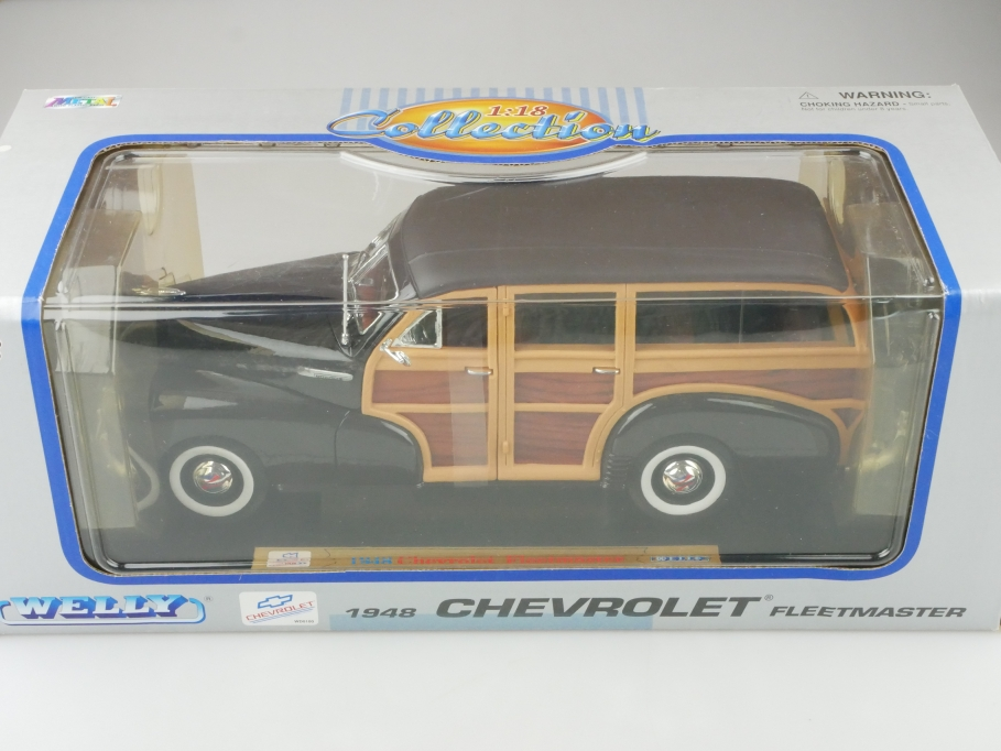 Welly 1/18 Chevrolet Fleetmaster Woody Station Wagon 1948 darkmaroon Box 512664