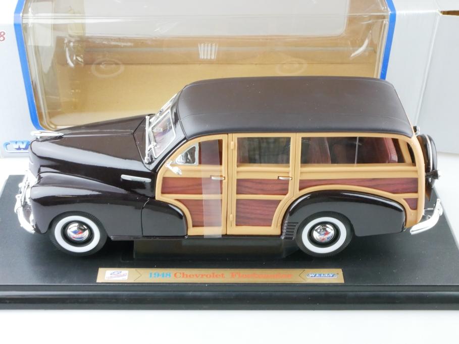 Welly 1/18 Chevrolet Fleetmaster Woody Station Wagon 1948 darkmaroon Box 512664