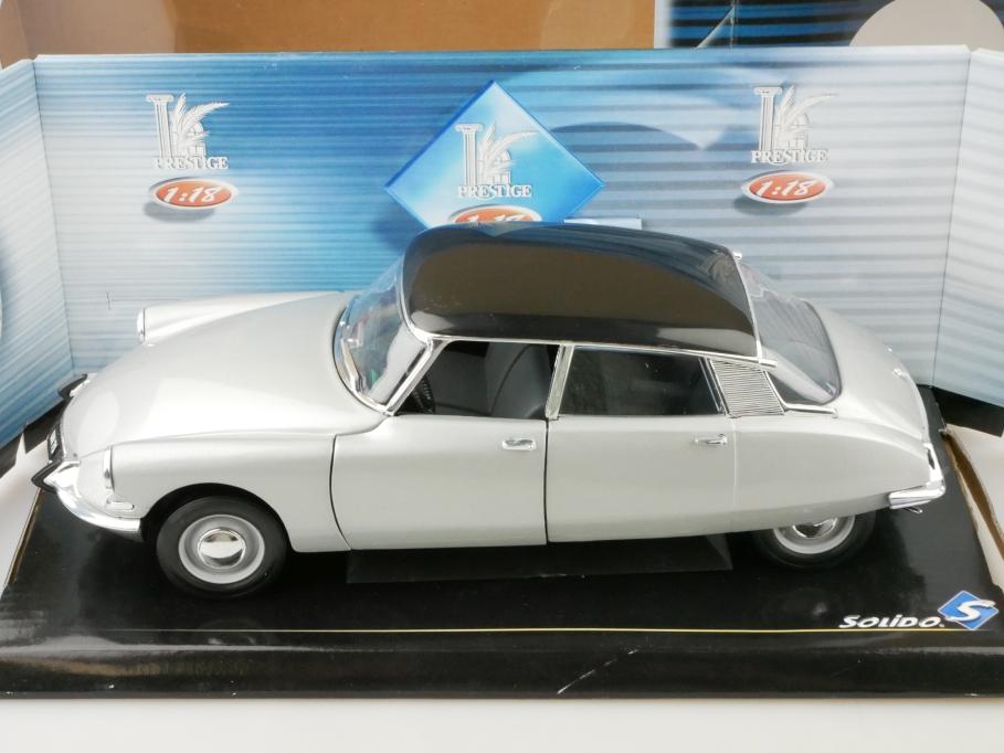 8033CG Solido 1/18 Citroen DS 19 Berline 1963 silver black mit Box 512667