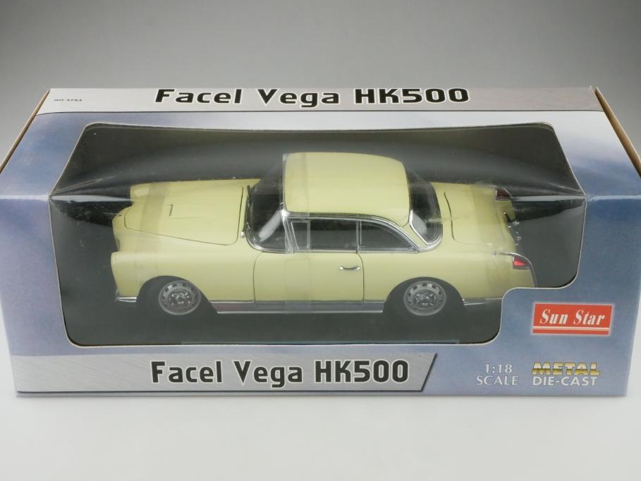 5753 Sun Star 1/18 Facel Vega HK 500 Coupe pastellgelb 1958 mit Box 512670