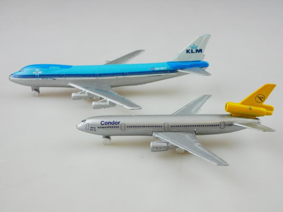 Schuco 1/600 Flugzeug Konvolut Boeing 747 Douglas DC 10 Condor ohne Box 512846