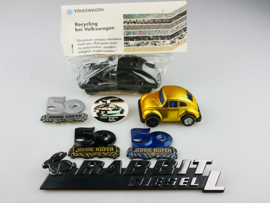 VW Käfer Bug Beetle Reste Konvolut Stifthalter Sticker Schrifzüge Embleme 512850