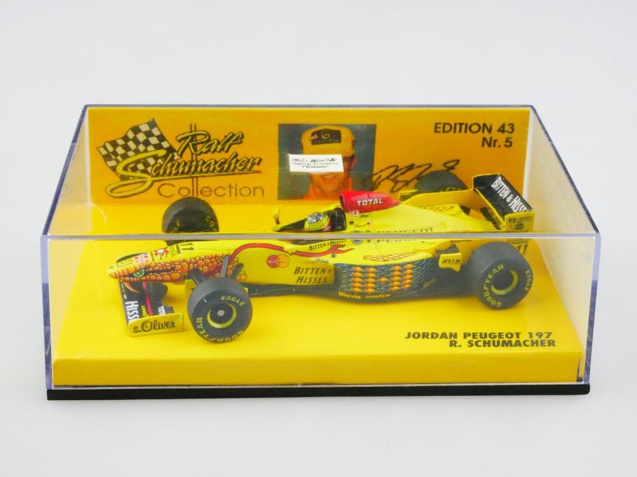 Nr.5 Minichamps 1/43 Jordan Peugeot 197 Formel 1 Ralf Schumacher mit Box 513069