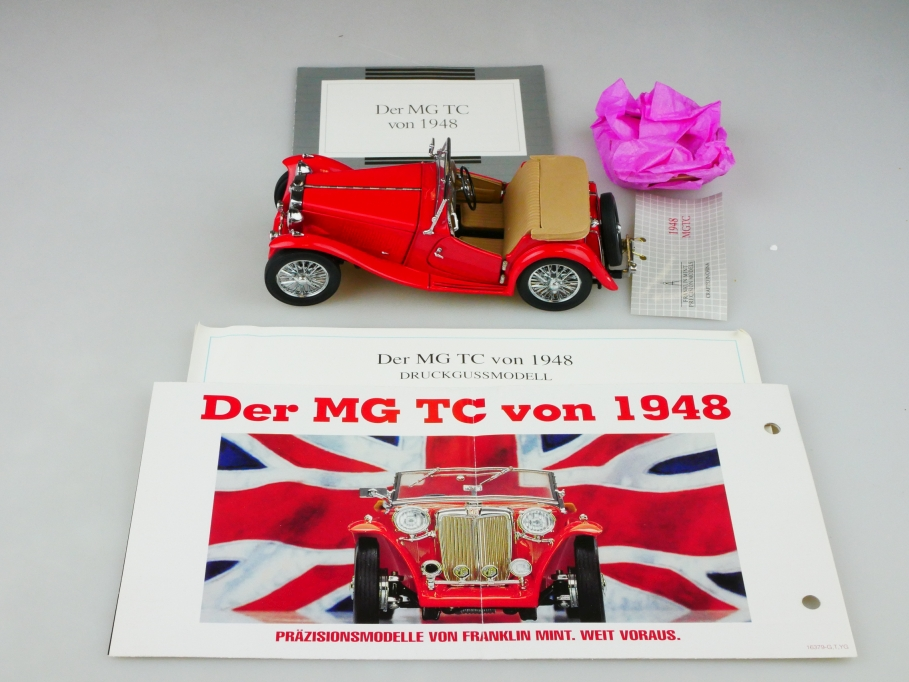 Franklin Mint 1/24 MG TC Roadster 1948 red rot mit Box 513131