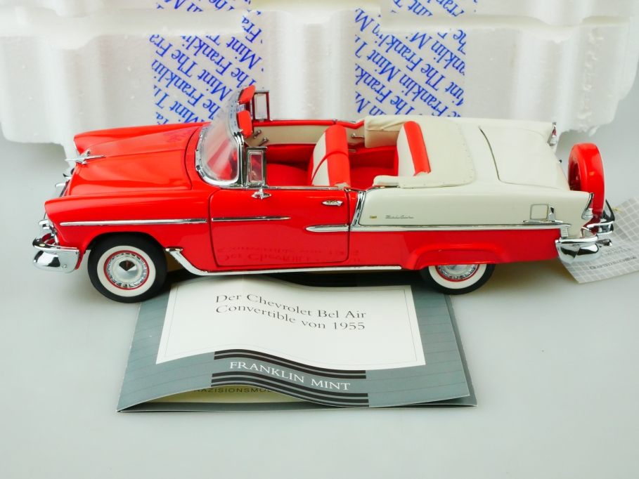 Franklin Mint 1/24 Chevrolet Bel Air Convertible 1955 red white mit Box 513132