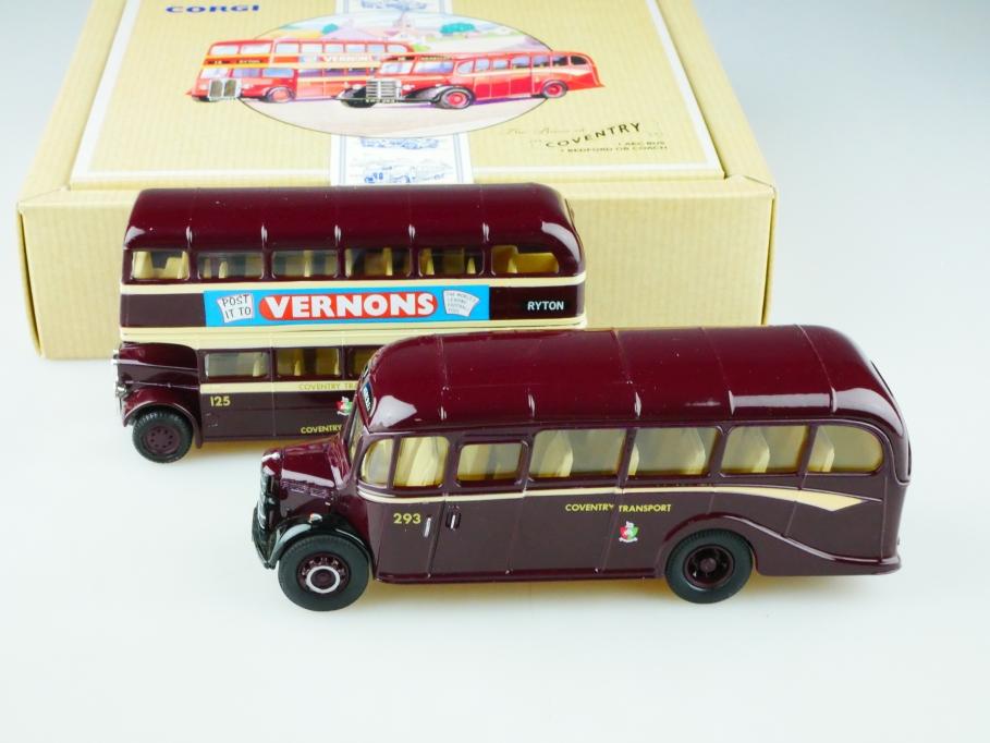 Corgi Toys ca. 1/64 AEC Doubledeck Bus & 1/50 Bedford Coach Coventry 513144