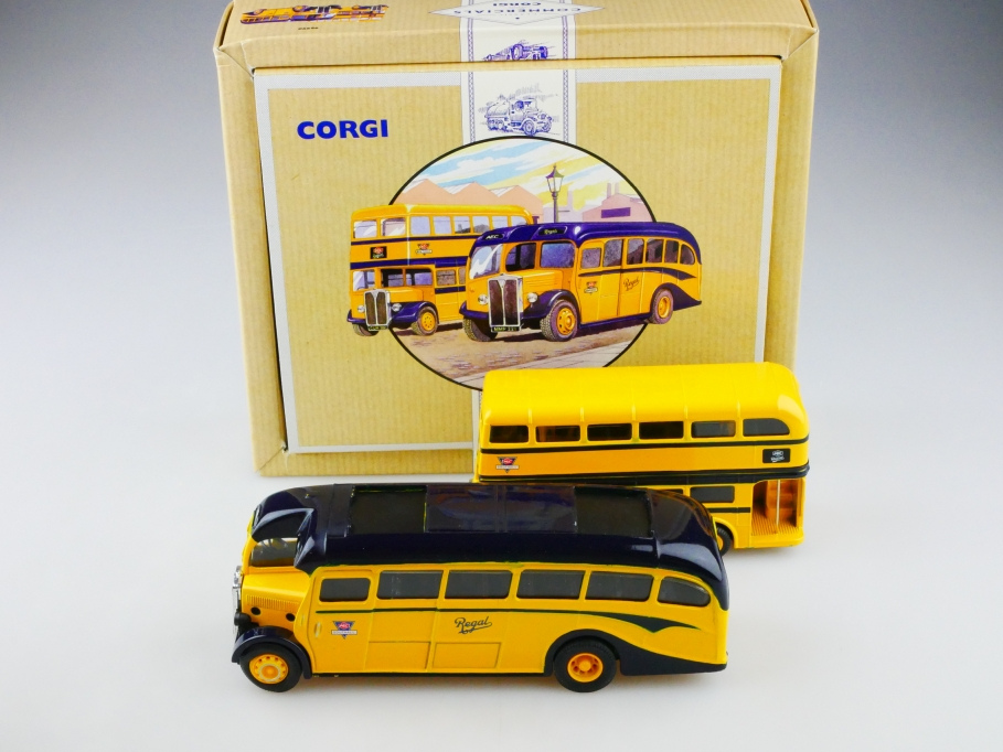 Corgi Toys ca. 1/64 AEC Bus set & 1/50 Regal Coach limited mit Box 513145