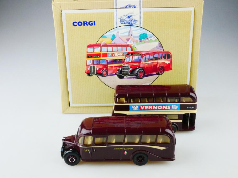 Corgi Toys ca. 1/64 AEC Bus set & 1/50 Bedford Coach Coventry mit Box 513146