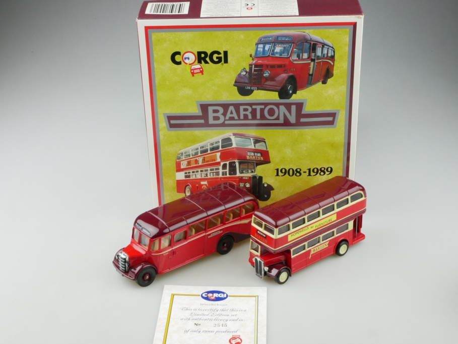 Corgi Toys 1/50 Bedford Coach 1/64 AEC Regent Bus Barton Set mit Box 513165