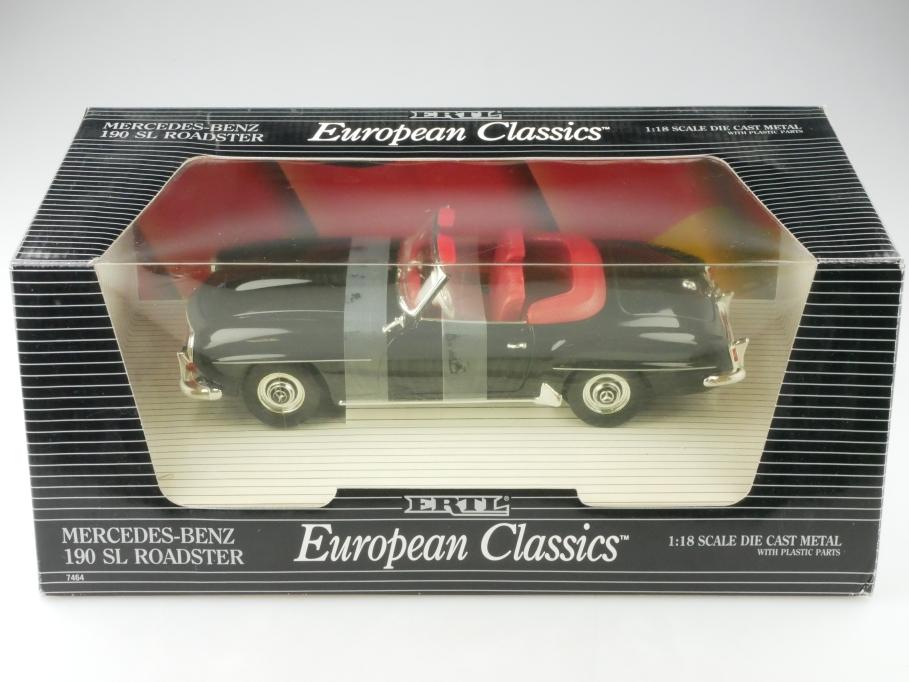 Ertl 1/18 Mercedes Benz 190 SL Roadster black schwarz mit Box 513215