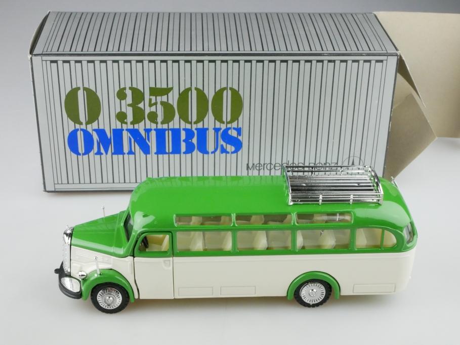 218 NZG 1/40 Mercedes Benz O 3500 Omnibus 1950 green white mit Box 513226