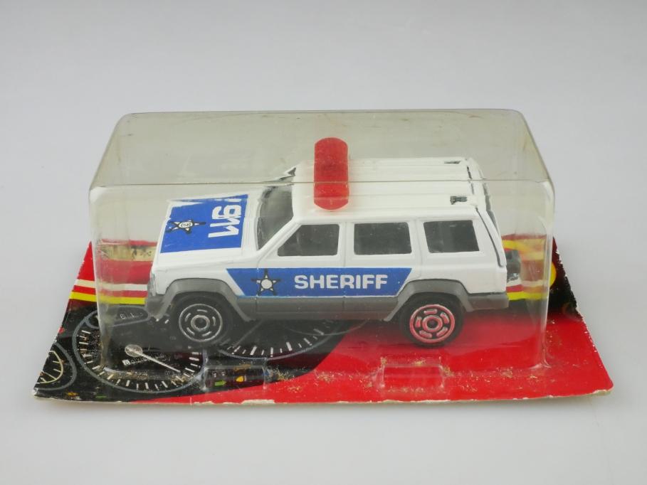 224 Majorette 1/60 Jeep Cherokee Station Wagon Police Cheriff mit Box 513238