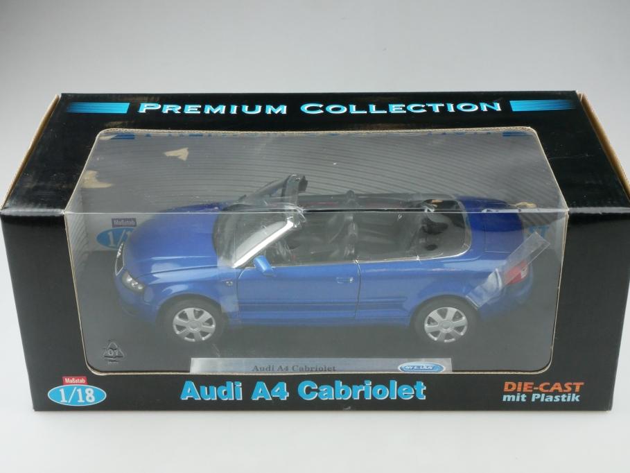 Welly 1/18 Audi A4 Cabriolet Convertible 2004 bluemetallic mit Box 513318
