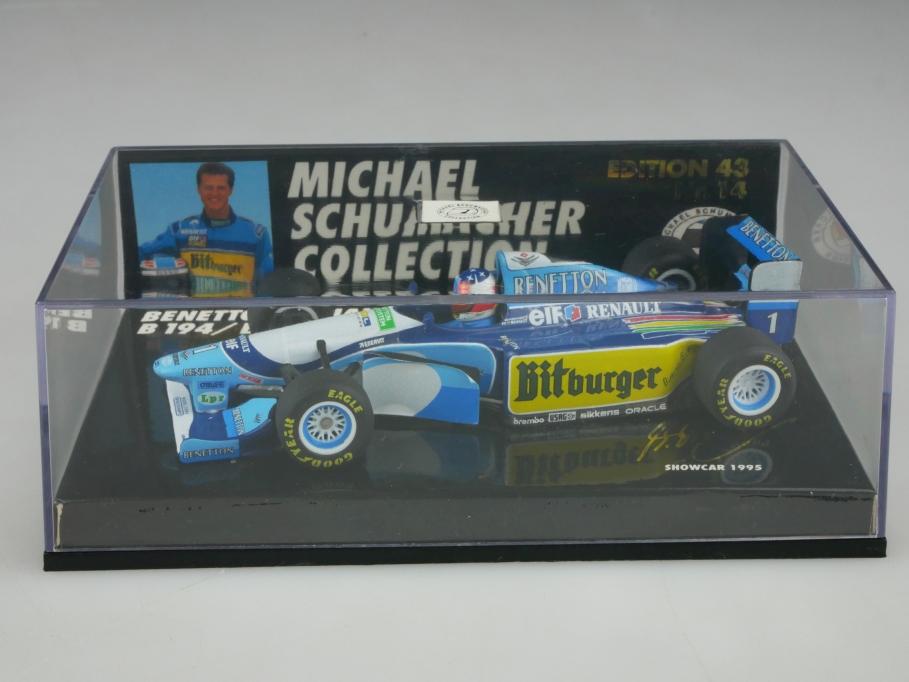 Minichamps 1/43 Schuhmacher 1995 Benetton Renault B 194 Formel 1 mit Box 513381