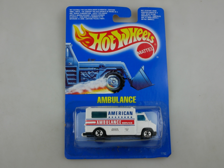 1792 Hot Wheels 1/64 American Ambulance Service 1989 Malaysia mit Box 513402