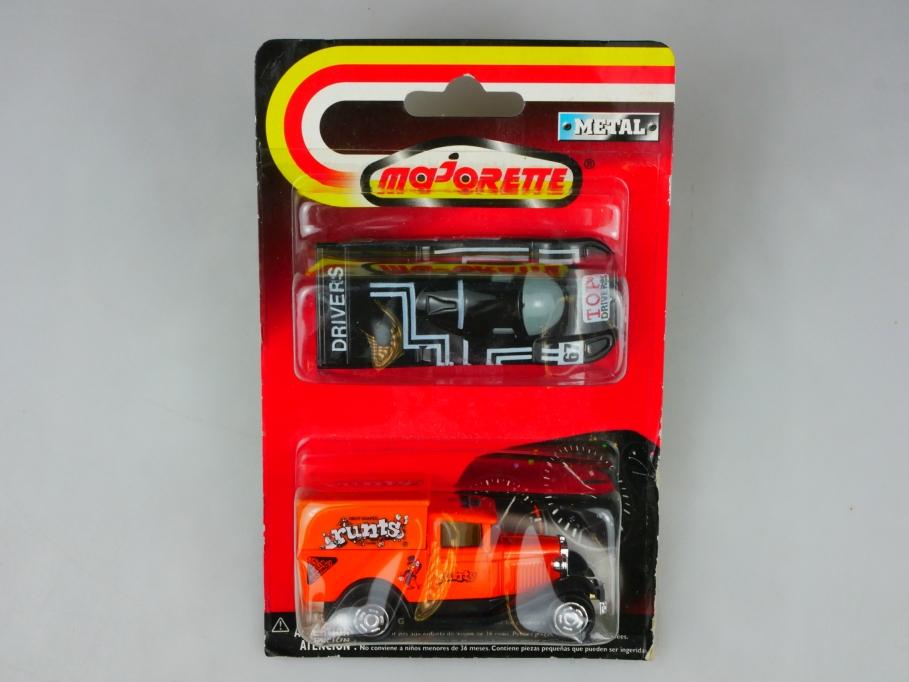 201 Majorette 1/60 Ford Model A Van runts with Porsche Racer in Box 513425
