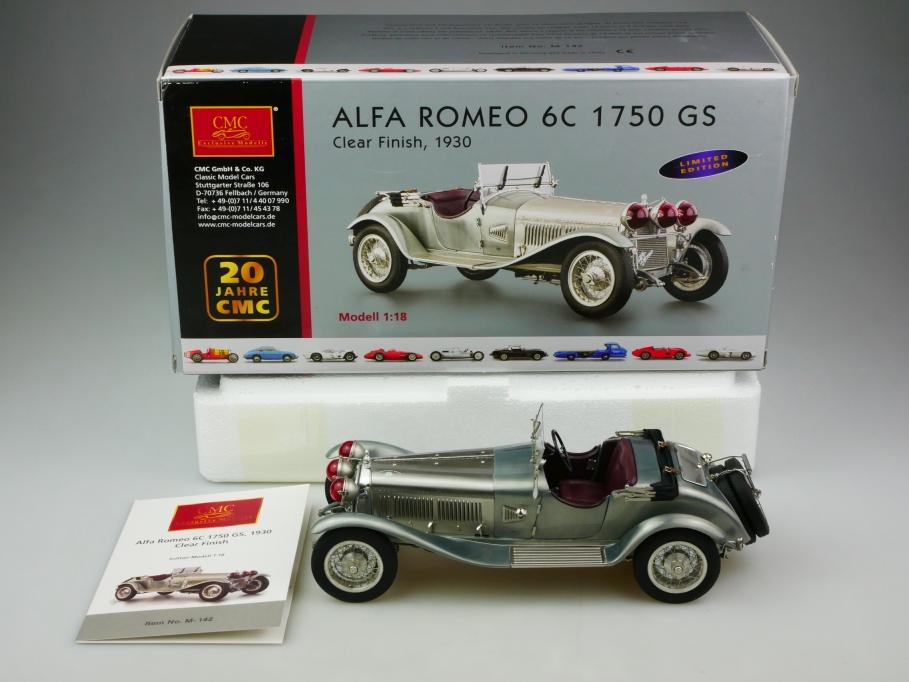 142 CMC 1/18 Alfa Romeo 6c 1750 GS Roadster 1930 Clear Finish in Box 513452