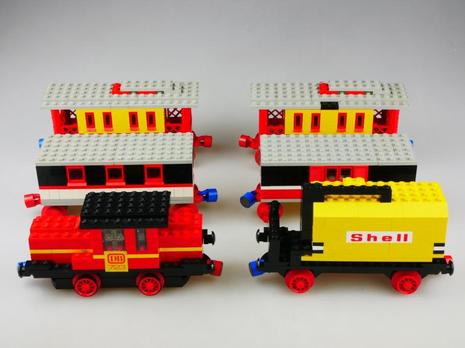 723 Lego ca. 1/43 Eisenbahn Diesel Lok mit 5 Wagons Shell ohne Box Psch 513461