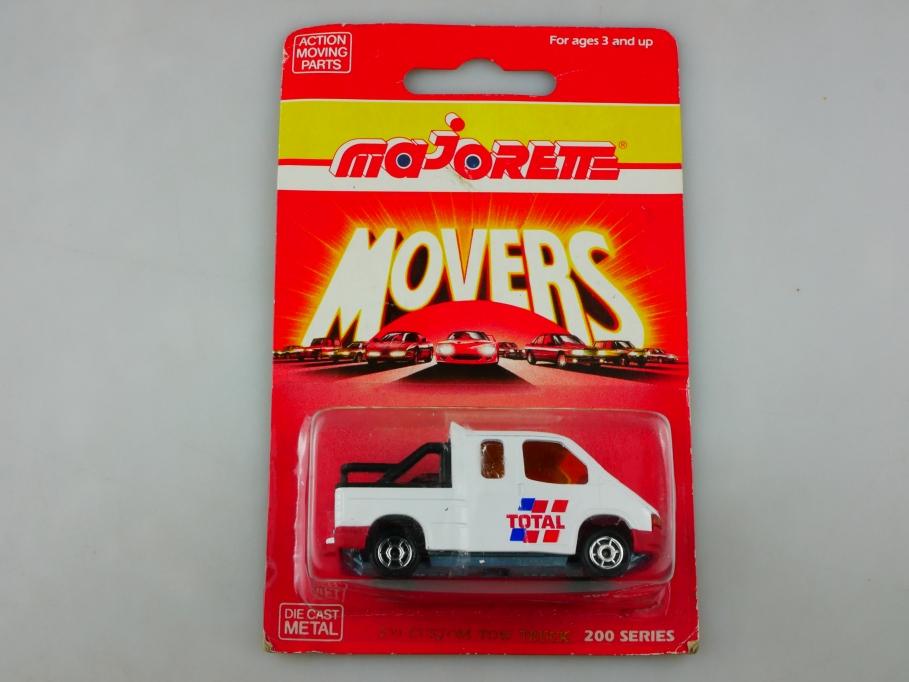 230 Majorette 1/60 Ford Transit DoKa Pickup Custom Tow Truck mit Box 513490