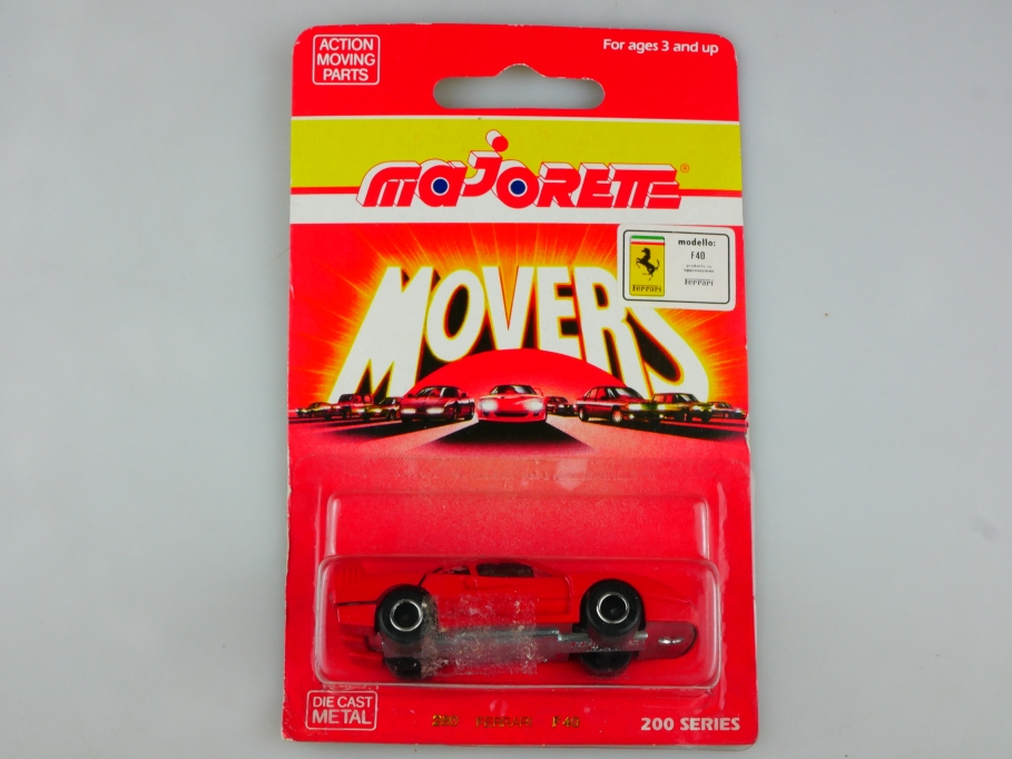280 Majorette 1/58 Ferrari F40 Supersportwagen 1990 Movers mit Box 513514