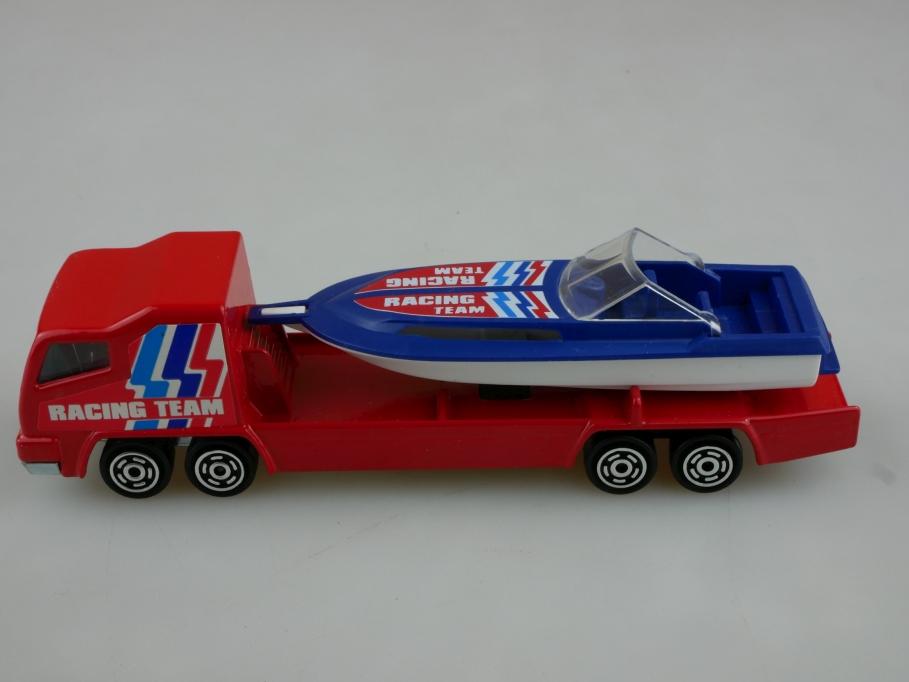 370 Majorette 1/100 Transporteur LKW Racing Boat Transporter ohne Box 513531