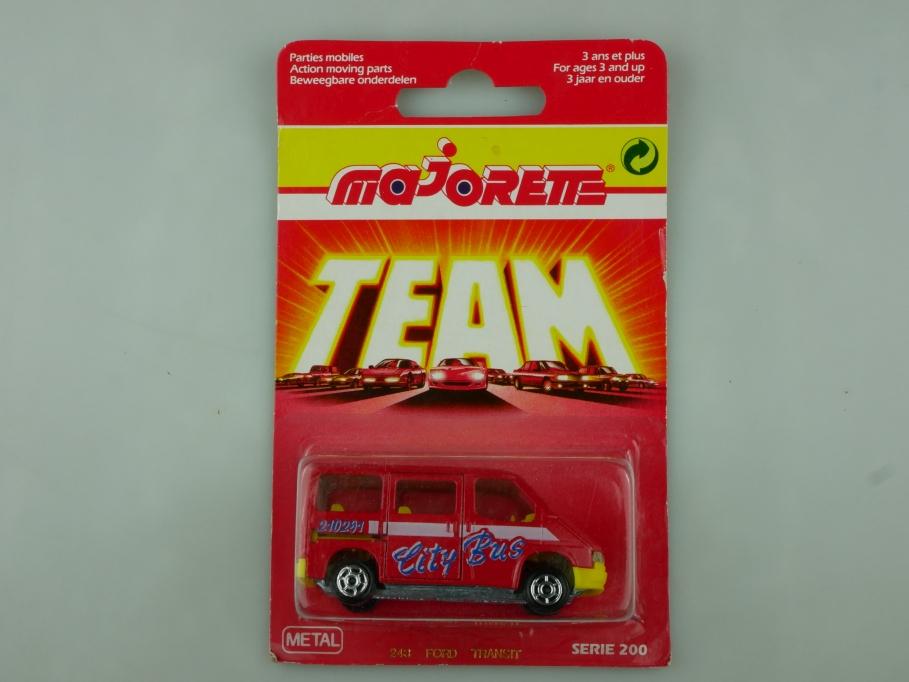 243 Majorette 1/60 Ford Transit City Bus 1983 Team mit Box 513573