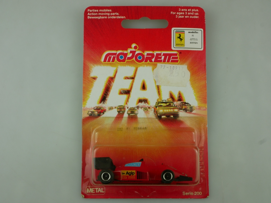 282 Majorette ca.1/55 Formel 1 Rennwagen Ferrari F1 1983 Thailand mit Box 513587