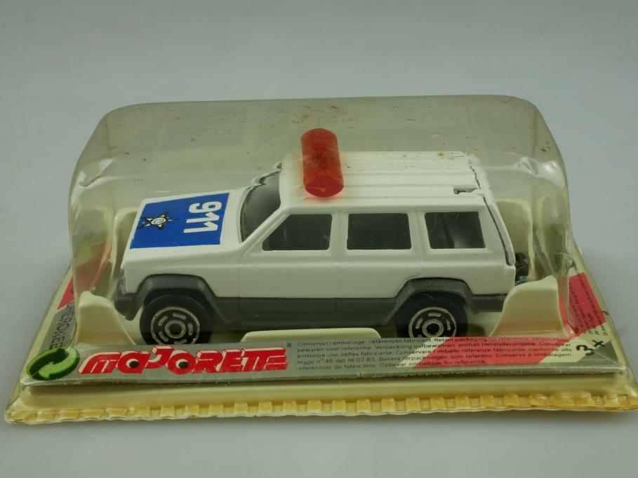 224 Majorette 1/60 Jeep Cherokee 4x4 Sheriff Police Station Wagon mit Box 513595